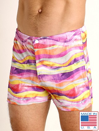 Model in pink waves LASC Malibu Swim Shorts
