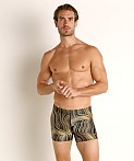 Speedo Dripping in Gold Square Leg Swim Trunk Black/Gold Print, view 2