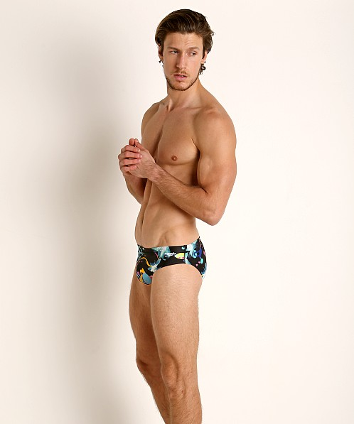 Speedo Turnz Training Swim Brief Black/Yellow Print