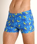 Speedo Banana Tree Square Leg Swim Trunk Blue Lemonade Print, view 3