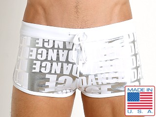 LASC American Square Cut Swim Trunks Dance White Print