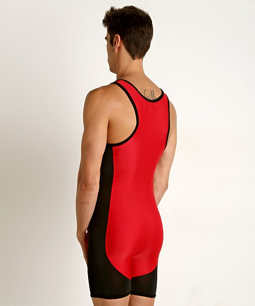 American Jock Team Wrestling Singlet Red/Black