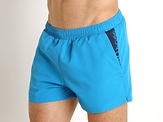 Model in turquoise Hugo Boss Mooneye Swim Shorts