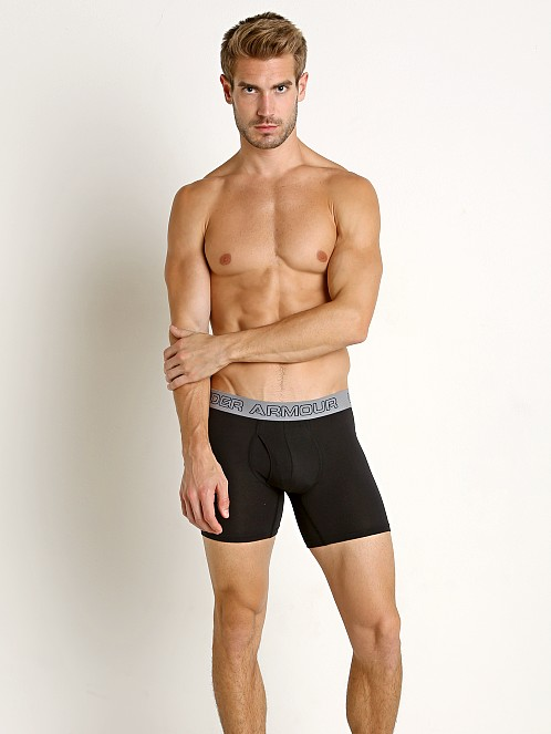 "Under Armour Cotton Stretch 6"" Boxerjock 3-Pack Blacks"