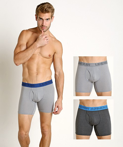 "Under Armour Cotton Stretch 6"" Boxerjock 3-Pack Greys"