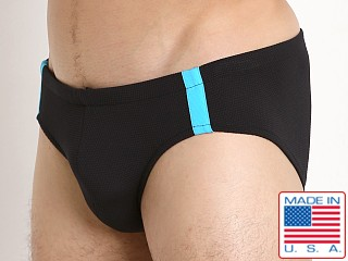 Sauvage Pique Textured Racing Swim Brief Black/Turq