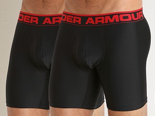 "Model in black/black Under Armour ""O"" Series 6"" Boxerjock 2 Pack"