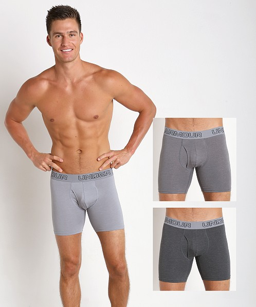"Under Armour Cotton Stretch 6"" Boxerjock 3 Pack Greys"
